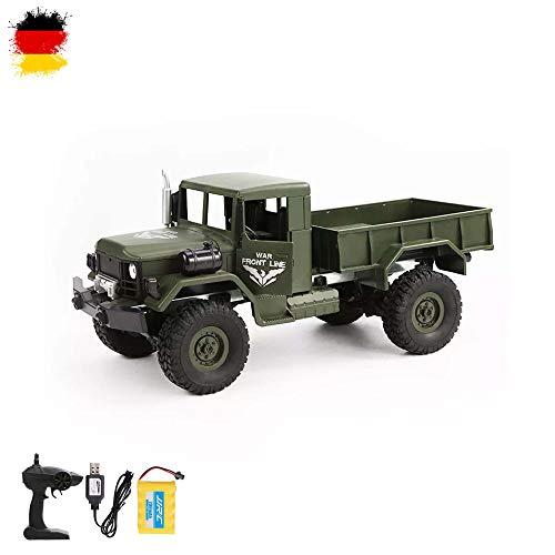 Himoto HSP RC Ferngesteuerter Off-Road 4WD Militär Army Truck mit Akku, Fernsteuerung und Ladekabel, 2.4GHz Fahrzeug Modell, Transporter, Truck, LKW, Crawler, Komplett-Set