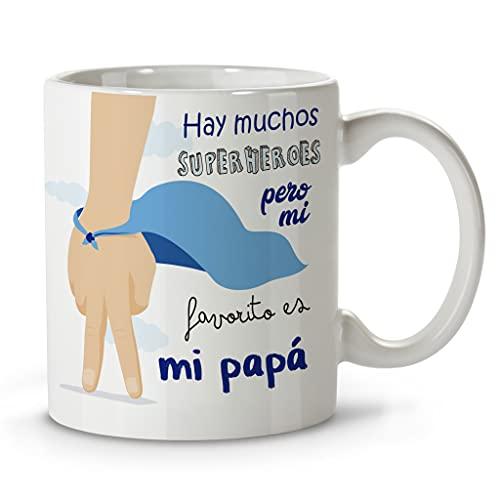 LolaPix Taza papá. Regalos Originales. Tazas Desayuno Originales. Varios diseños. SÚPER PAPÁ