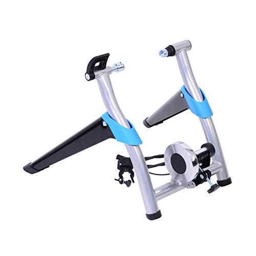 Homcom Rodillo Magnético de Ciclismo Rodillo Entrenamiento Bicicleta Plegable Resistencia Ajustable a 8 Niveles 54.4x47.2x39.4cm Acero