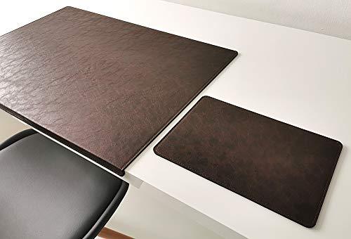 Vade de escritorio inclinado con alfombrilla para ratón en piel Lora 60 x 38 cm, color marrón oscuro