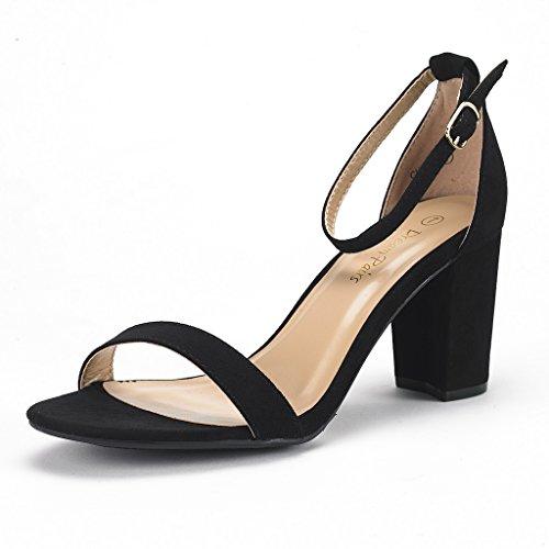 DREAM PAIRS Women's Chunk Black Suede Low Heel Pump Sandals - 12 M US