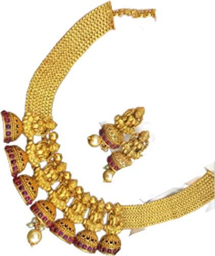 Crafting with Love Un hermoso juego de Lakshmi con pendientes acabado mate se ve hermoso en cualquier mujer