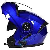 Casco Modulare Bluetooth, Casco da Moto Integrato Omologato ECE, Doppia Lente Aperta per Moto Elettrico, Anti-Appannamento, Riduzione Rumorosa Traspirante Robusto 55~62CM