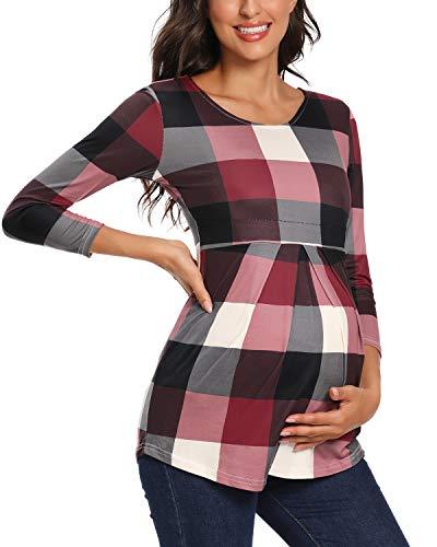 Love2Mi Blusa de maternidad para mujer, manga 3/4, bonita y elegante Impresión a cuadros. XL