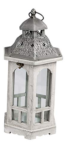 dekojohnson Decorative Wooden Lantern Floor Lantern Italian Garden Lantern Metal Roof Vintage Antique Grey Silver Rustic Hexagonal 24 x 20 x 45 cm
