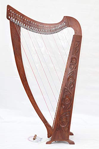 Musical Instrument Tall Celtic Irish Harp 32 Strings Lever Solid Wood with Dulex Bag