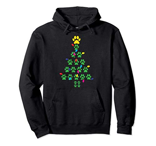 Paws Print Christmas Tree Dog Cat Pullover Hoodie