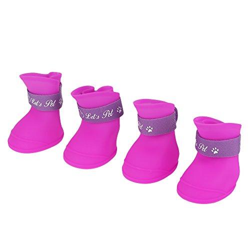 犬の靴、4本のシリコン犬の雨のブーツペットのための防水かわいい爪プロテクター(パープル M)