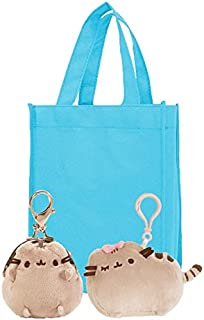 "Pusheen Coin Purse and Bow Pusheen Backpack Clip | 4.5"" Pusheen Plush Bow Backpack Clip and 3"" Coin Purse with Tote 
