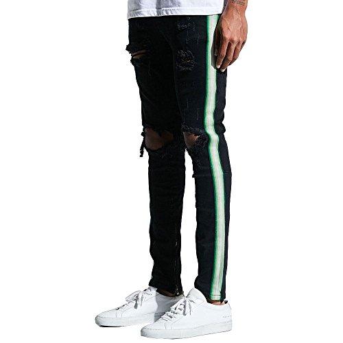 Embellish Bolt Standaard Denim Jeans Ripped Zwart