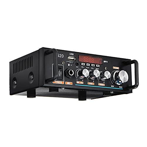 WWMH 600WAmplificador de Audio Estéreo Bluetooth con Control Remoto Amplificador de Audio Digital Portátil de Alta Fidelidad para el Hogar del Automóvil Música SD FM 12V / 220V(Negro)