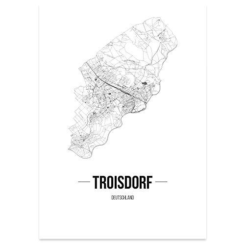 JUNIWORDS Stadtposter - Wähle Deine Stadt - Troisdorf - 60 x 90 cm Poster - Schrift B - Weiß