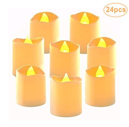 QHYK Candele LED 24 pz Senza Fiamma Candele LED, portò Flickering Candele, Alimentato a Batteria, per Casa, Matrimoni, Decorazioni Domestiche Uso [Classe di efficienza energetica A]