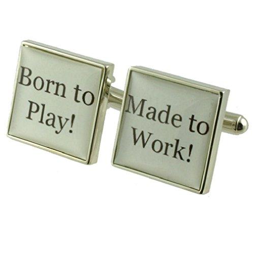 Fun Born to play Boutons de manchette pour homme en argent sterling 925 massif Boutons de manchette + Boîte de message gravé personnalisé