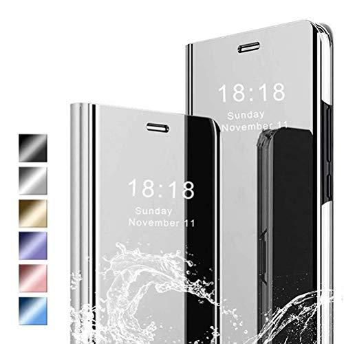 ANWEN Hülle für iPhone 12 Pro Max Handyhüllen,Flip Handy Hülle Cover PU+PC Schutzhülle Transluzent View Spiegel Anti-Schock Hülle mit Standfunktion für iPhone 12 Pro Max-Silber