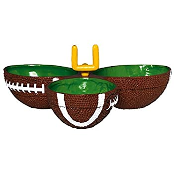 Amscan 434393 Football Condiment Party Dish   1 piece,Green/Brown