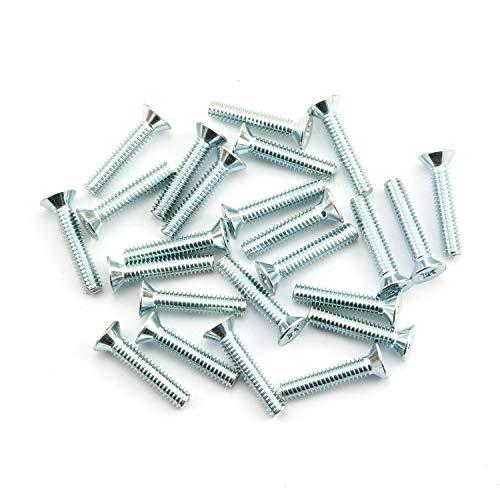 "24pcs 1/4""-20 x 1-1/4"" Machine Screws Metal Mounting Hardware Fitting Fastening Accessories Zinc Plated Iron Cross Slotted Flat Countersunk Screw Bolt"