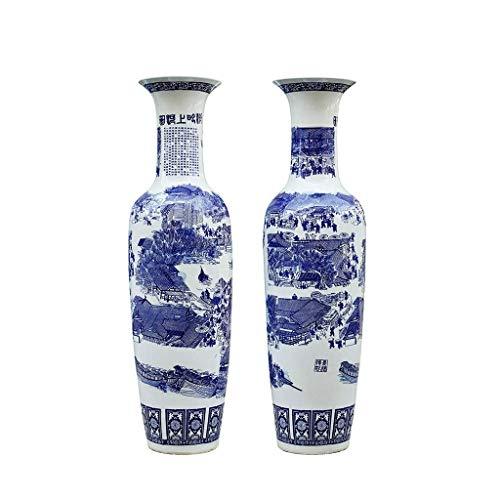 JHSHENGSHI Juego de 2 jarrones Altos clásicos de Porcelana Azul y Blanca, 35,4 Pulgadas, jarrón de Suelo, jarrón Chinoiserie