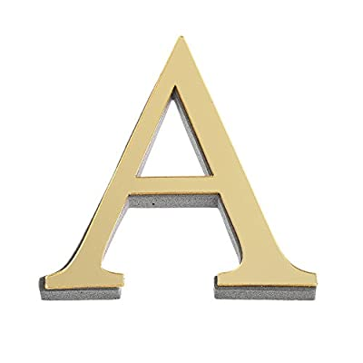 XGao 3D Acrylic Mirror Letters Nordic Style Alphabet Shatterproof Wall Mirror Bathroom Decoration Mirrors Decal Letter Stickers Office Room Home Wall Hanging Decor (A Gold)