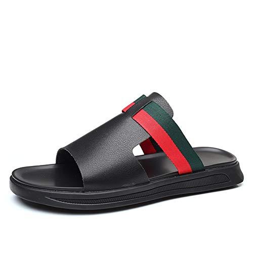 Pantoufles Casual été Nouveaux Hommes Respirant la Mode Un Mot Fond Plat Sandales Glisser Tout-Match Chaussures Hommes Mode Casual Pantoufles à Bout Ouvert pour Homme (Color : Black, Size : 42)