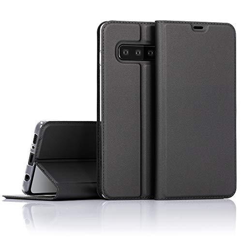 NALIA Hülle kompatibel mit Samsung Galaxy S10, Slim Kickstand Handyhülle Flip-Hülle Kunstleder Book-Cover mit Magnet, Etui Ganzkörper Schutzhülle Dünne R&um Handy-Tasche Bumper - Schwarz Grau