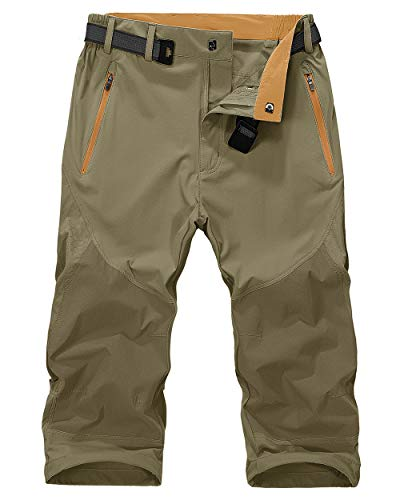 MAGNIVIT Men's Clam Digger Shorts Lightweight Hiking Mountain Pants Running Active Jogger Pants Khaki
