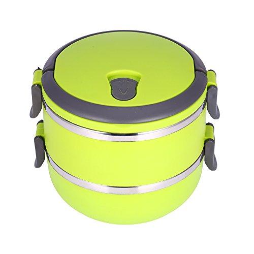 Isolamento Termico interno in acciaio inox per il pranzo Yosoo portatile Isolamento termico permeabilità Proof 1/2/3 scomparti con manico food contenitore scatola thermos per cibo 2 Layer verde
