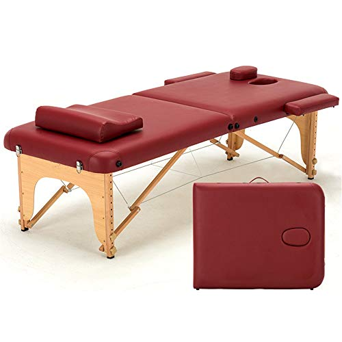 HO-TBO Folding Massage Table 2 Section Lightweight Folding Wooden Massage Table Portable Beauty Salon Chair Compact Plinth Bed Portable, Lightweight And Adjustable (Color : Brown, Size : 186x70cm)