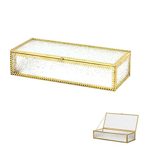 Schneespitze Cajas para Joyas de Vidrio,Joyero Rectangular,Caja de Vidrio geométrica