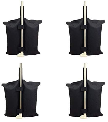 4 pezzi sacchi sacco riempibile antivento base basamento supporto sostegno universale riempibile in textilene nero antistrappo con zip e 2 fasce a strappo per tutti i gazebo su palo gambe