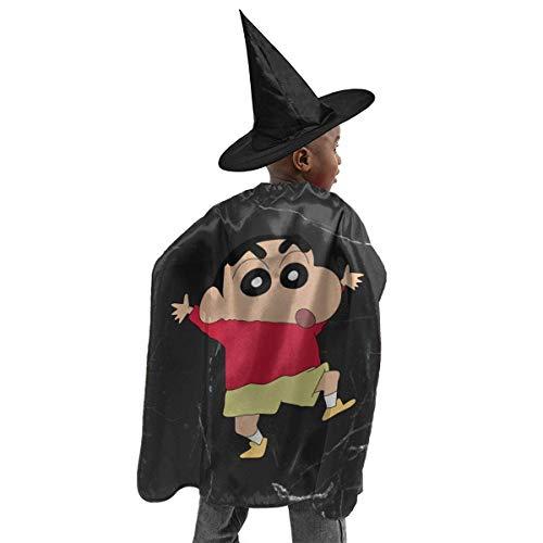 HYJUK Shin Chan Dibujos Animados Anime 3D Disfraz de Halloween para nios Capa de Mago Sombrero de Bruja de Halloween Nio niaTraje de Fiesta