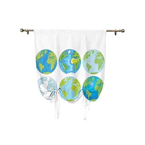 Wanderlust Decor - Paneles de cortina con diseño de globos ajustables con ilustraciones del Mar del Atlántico, 94 x 108 cm, para ventana de baño, color azul, verde y blanco