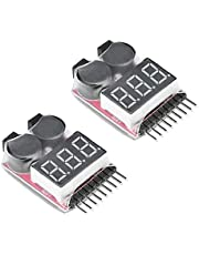 ARCELI RC 1-8s Lipo Battery Tester Monitor de bajo voltaje Timbre Alarma Comprobador de voltaje con indicador LED para Lipo Life LiMn Li-ion Battery (2PCS)