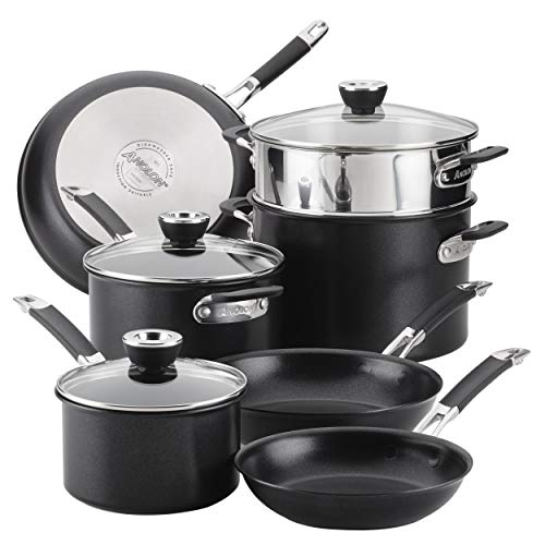 Anolon, Bla SmartStack Hard-Anodized Nesting Pots and Pans Cookware Set, 10-Piece, Black, 23.5 x 14 x 13.5 inches