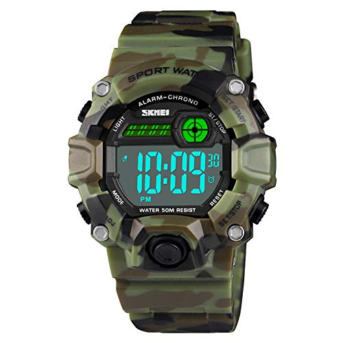 Boys Camouflage LED Sports Kids Watch,Waterproof Digital Electronic Military Wrist Watches for Kids with Silicone Band Luminous Alarm Stopwatch Watches Age 5-10
