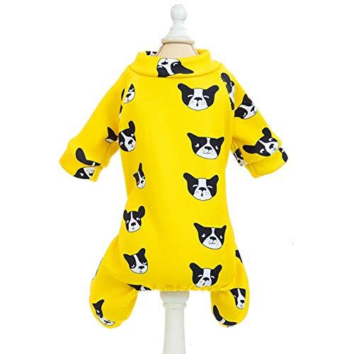 SMALLLEE_LUCKY_STORE Fleece-Schlafanzug mit niedlichem Hundemotiv, für kleine Hunde, Katzen, Welpen, Wintermantel, Jacke, Overall, Haustier-Winterkleidung, Gelb, Größe L