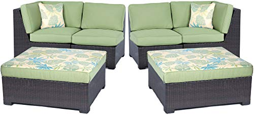 Hanover METMN6PC-B-GRN Metro Mini 6pc Set: 2 Corner Wedges, 2 Armless Chairs, and 2 Ottoman Cushions Frames Outdoor Furniture, Brown/Green