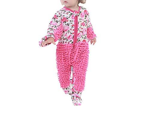 Ropa de fregona infantil de una sola pieza, ropa de mopa para niños, ropa de trapeador y escalada, talla 85, rosa y rojo