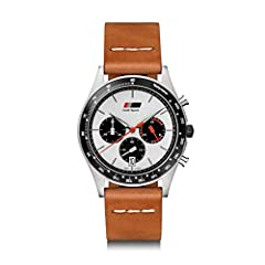 Audi heritage chronograph for men Meca quartz chronograph movement Seiko VK63 316 L stainless steel case with black aluminium ring, screwed case back and black coated crown Fully fluorescent hands and indexes in Superluminova Diameter: 42 mm, height:...