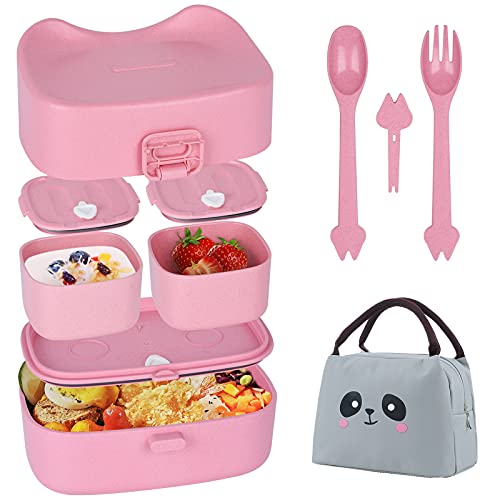WisaKey Children Lunch Box, Bento Box for Kids with Insulated Lunch Bag...