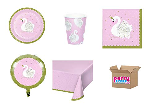 Party Store Web by Casa Sweet Home Kindertafeldecoratie Schwan 15 (40 borden, 40 bekers, 48 servetten, 1 tafelkleed, 1 ballon-folie)