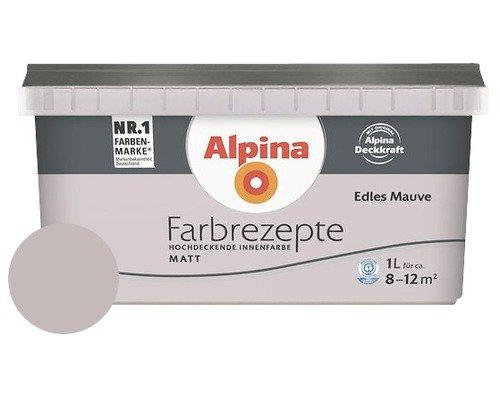 ALPINA Farbrezepte EDLES MAUVE 1 Liter für ca. 8 - 12 m² Farbe Wandfarbe MATT