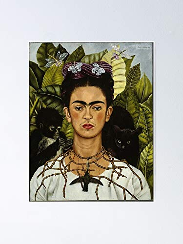 guyfam Frida Kahlo's Self Portrait with Monkey and Cat Poster 11.7x16.5 Inch Frame Board for Office Decor, Best Gift Dad Mom Grandmother and Your Friends