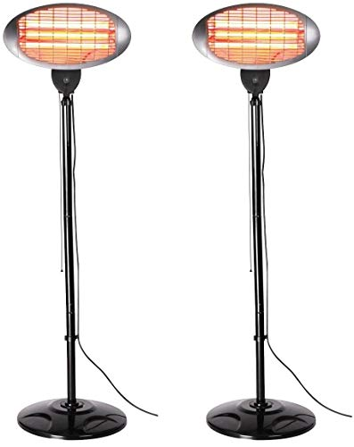 Set of 2 Heatlab 2kW Outdoor Freestanding Electric Quartz Bulb Garden Patio Heaters - 3 Power Settings (Set of 2 Grey FreeStanding Heaters)