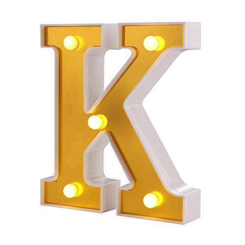 Samapete Luces de letras LED Golden 26 Alphabet Marquee Letter Lights Sign for Wedding Birthday Party Christmas Home Bar Decoration (K)
