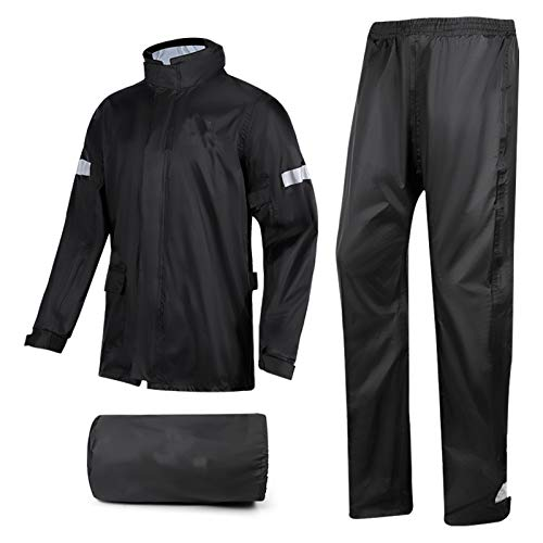 XFSHKJS Ropa de Lluvia Impermeable (Chaqueta + Pantalones) Conjuntos - Abrigo Empacable a Prueba de Agua/para Hombre - para Montar a Caballo Pesca de Golf y Trabajo al Aire Libre, Negro
