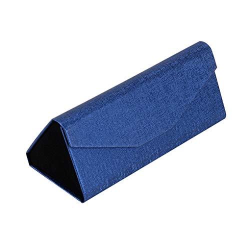 Weilifang Caja Protectora Plegable Caja de los vidrios Gafas de Sol Gafas de Soporte Plegable de Cuero sólido de Color Joyas de la Lente, Azul