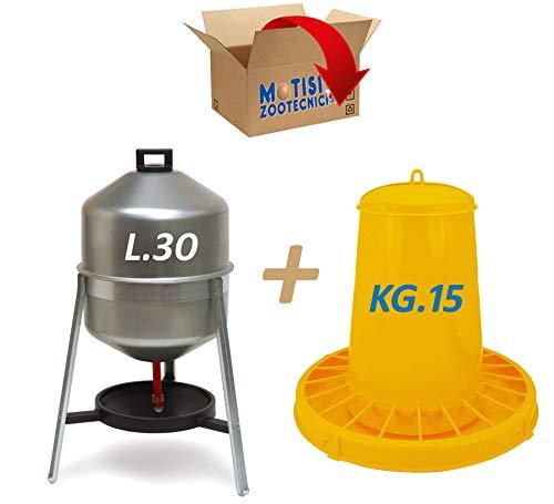 Abbeveratoio per Galline, polli, in lamiera zincata da Litri 30 e Mangiatoia a tramoggia in plastica da kg.15
