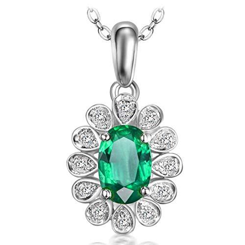 Epinki Oro de 18 Quilates Collar Oval Forma Colgante Mujeres Amuleto Cadena de Mujeres Blanco Oro con 0.45ct Verde Emerald