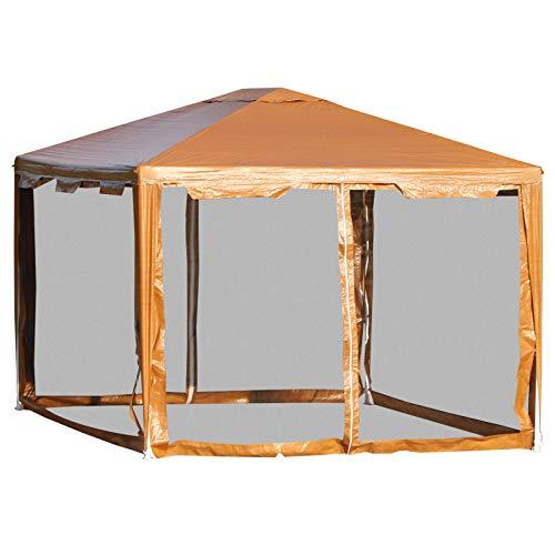 Outsunny Pavillon Partyzelt Gartenpavillon Gartenzelt Festzelt mit Seitenwänden Metall + PE Kaffee 4 x 3 m